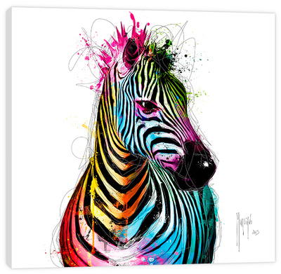 Zebra Pop Stretched Canvas Print by Patrice Murciano