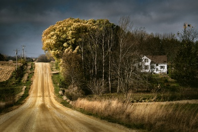 Rural Road Disappearing into Distance in USA Photographic Print by Jody Miller