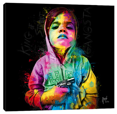 Gangsta Child, King Of Street Stretched Canvas Print by Patrice Murciano