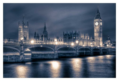 Night time at the Houses of Parliament Print by Nick Jackson