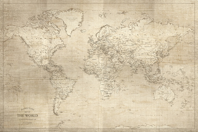 Hamilton's World Map Giclee Print by Maria Mendez
