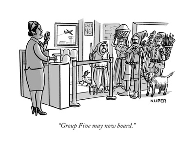 """""""Group Five may now board."""" - New Yorker Cartoon Giclee Print by Peter Kuper"""