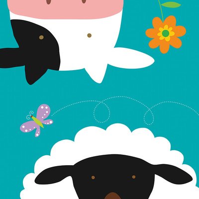 Farm Group: Cow and Sheep Poster by Yuko Lau