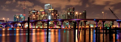 Night View of the Miami Skyline Prints by Carsten Reisinger