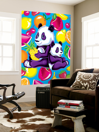 Panda Fruit Wall Mural by Lisa Frank