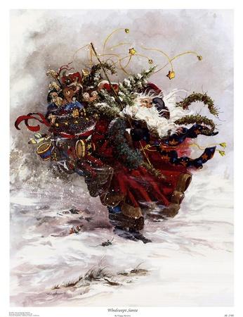 Windswept Santa Prints by Peggy Abrams