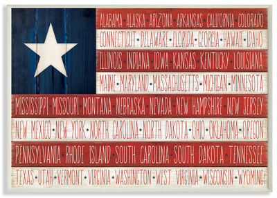 American Flag with States Wood Sign