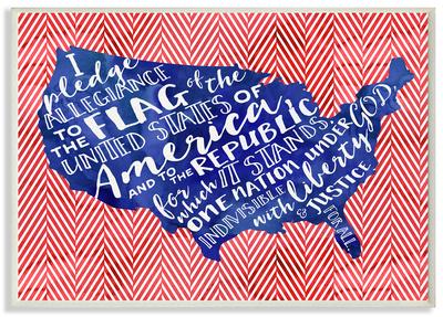 Pledge of Allegiance Typography with Chevron Wood Sign