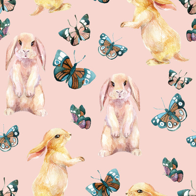 Rabbit and Butterflies. Watercolor Seamless Pattern Posters by  tanycya