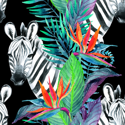 Tropical Jungle Seamless Pattern. Floral Design with Zebra on White Background. Art by  tanycya