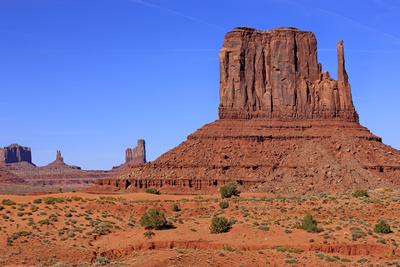 View of sandstone buttes in high desert habitat, West Mitten, Monument Valley, Navajo Tribal Park Photographic Print by Jurgen & Christine Sohns