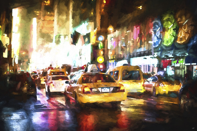 Taxis Night Giclee Print by Philippe Hugonnard