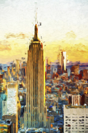 Empire State Sunset III - In the Style of Oil Painting Giclee Print by Philippe Hugonnard