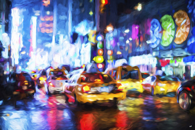 Taxis Night - In the Style of Oil Painting Giclee Print by Philippe Hugonnard