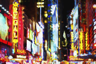 Times Square Night II - In the Style of Oil Painting Giclee Print by Philippe Hugonnard