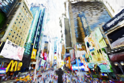 Times Square Buildings III - In the Style of Oil Painting Giclee Print by Philippe Hugonnard