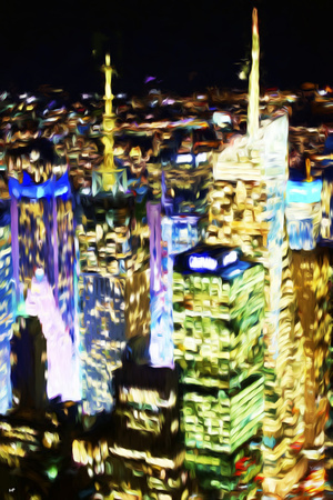 City Lit Up - In the Style of Oil Painting Giclee Print by Philippe Hugonnard