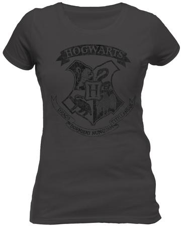 Juniors: Harry Potter - Distressed Hogwarts Crest Magliette