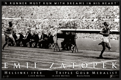 Emil Zatopek: 1952 Triple Gold Medalist Poster