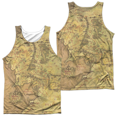 Tank Top: Lor- Middle Earth Map (Front/Back) Tank Top