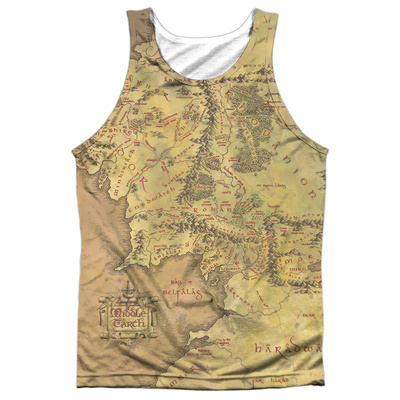 Tank Top: The Lord Of The Rings: The Fellowship Of The Ring- Middle Earth Map (Black Back) Tank Top