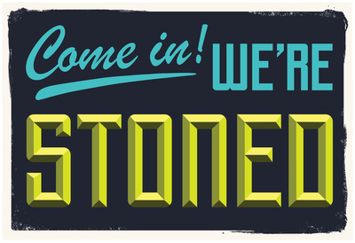 Come In We're Stoned (3D Black) Affischer