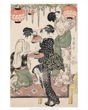 Girls under a Wisteria Espalier (1795) Print by Kitagawa Utamaro