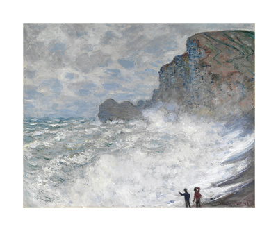 Rough Weather at Etretat Premium Giclee Print by Claude Monet