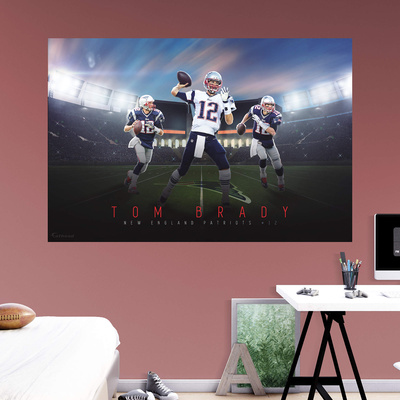 Tom Brady 2015 Montage Mural; pic of football sports mural in a room