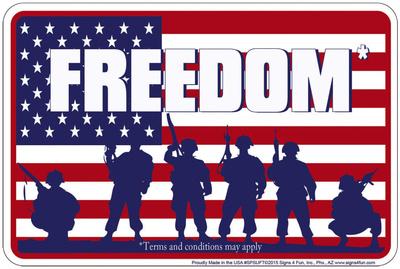 Freedom Tin Sign