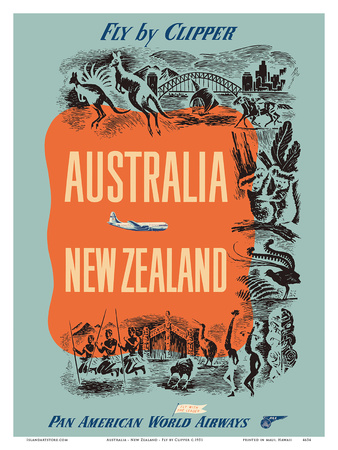 Australia - New Zealand - Fly by Clipper - Pan American World Airways Poster by  Pacifica Island Art