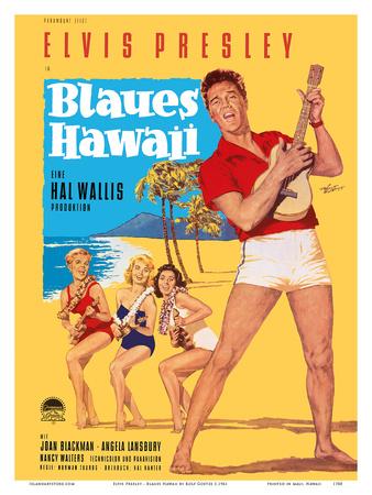 Elvis Presley in Blaues (Blue) Hawaii Posters by Rolf Goetze
