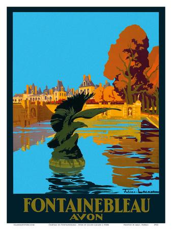 Chateau de Fontainebleau - Avon - France - Paris-Lyon-Mediterranee Railway (PLM), French Railroad Poster by Julien Lacaze