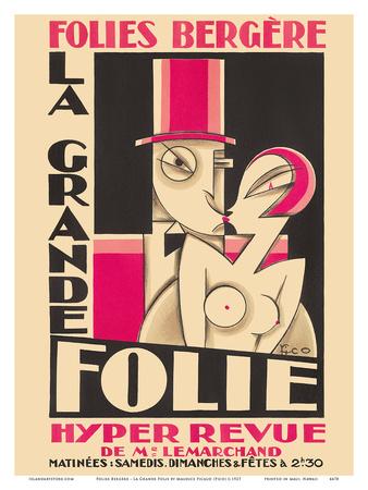 Folies Bergere - La Grande Folie - Hyper Revue de (of) Mr. Lemarchand Prints by Maurice Picaud
