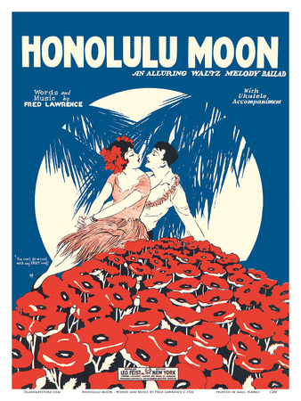 Honolulu Moon - Words and Music by Fred Lawrence Prints by  Pacifica Island Art