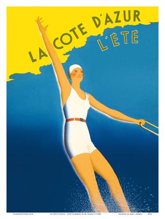 La Cote d'Azur - L'ete (Summer) - Paris-Lyon-Mediterranee Railway (PLM), French Railroad Prints by  Sainte