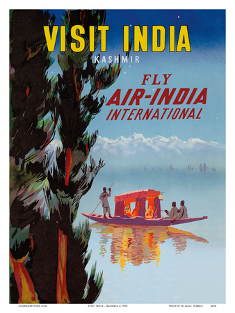Visit India - Kashmir - Fly Air India International Posters by  Pacifica Island Art
