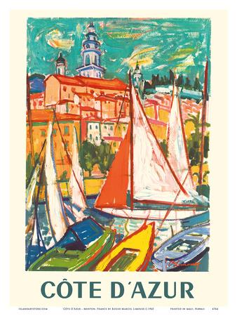 Cote D'Azur - Menton, France Posters by Roger Marcel Limouse