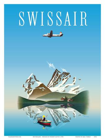 Switzerland - Swissair - Douglas DC-4 Airliner Prints by Herbert Leupin
