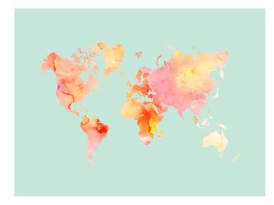 World Map-Pastel Watercolor Prints by Amy Brinkman