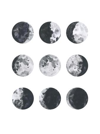 Moon Phases Watercolor I Posters van Samantha Ranlet