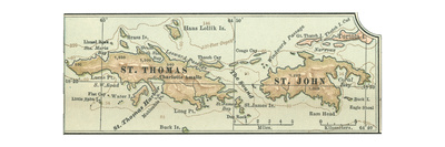 Inset Map of Saint Thomas and St. John Islands Giclee Print by  Encyclopaedia Britannica