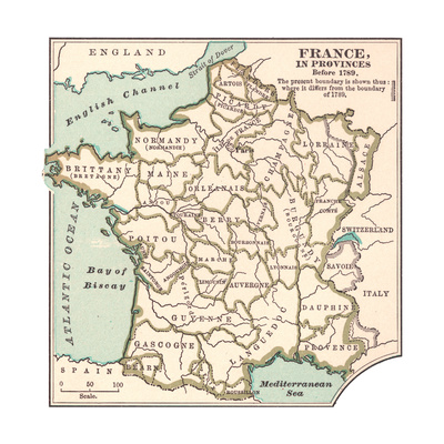 Inset Map of France in Provinces before 1789 Giclee Print by  Encyclopaedia Britannica