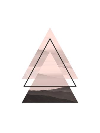 【北欧】幾何学模様(ピンク) ポスター : Pop Monica