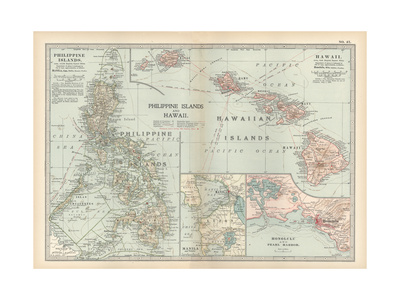 Map of Philippine Islands and Hawaii. Insets of Manila and Vicinity and Honolulu and Pearl Harbor Giclee Print by  Encyclopaedia Britannica