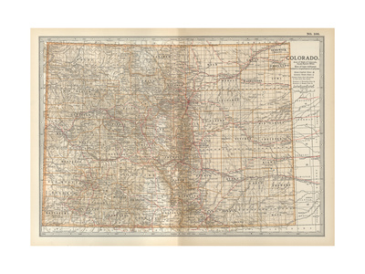 Plate 109. Map of Colorado. United States Giclee Print by  Encyclopaedia Britannica