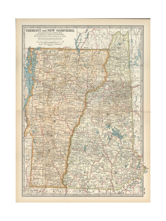 Map of Vermont and New Hampshire, United States Giclee Print by  Encyclopaedia Britannica