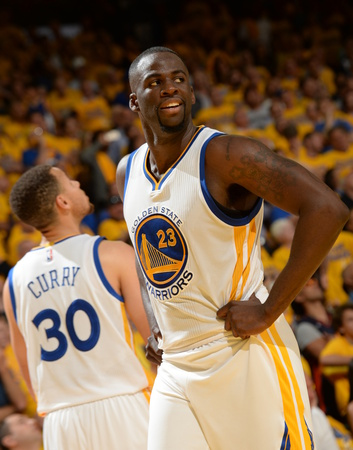 Draymond Green and Stephen Curry playing on the basketball court Game One photo pic poster