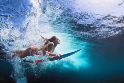 Underwater Photo of Girl with Board Dive under Ocean Wave Photographic Print by Tropical studio