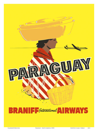 Paraguay - South America - Braniff International Airways Print by  Pacifica Island Art